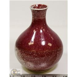 13) CERAMIC VASE, RED SPECKLE GLAZE, SIGNED &