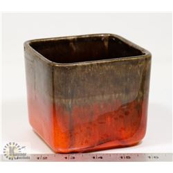"51) MAYTIME CERAMICS SQUARE POT 4""X4""."