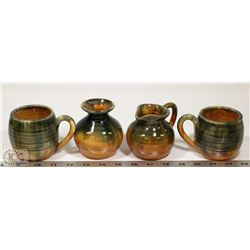 59) SET OF 4 CERAMIC POTS SIGNED INEKE VICTORIA BC