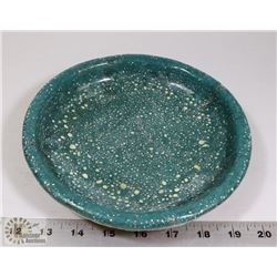 75) SPECKLE GREEN GLAZED PLATE ATTRIBUTED TO MARY