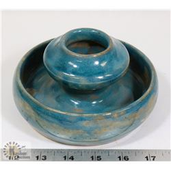 128) BLUE GLAZED POT SIGNED RAYMOND.