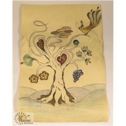 115) MARY BORGSTROM HAND DRAWN TREE WITH BIRD.