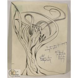 124) MARY BORGSTROM TREE PICTURE WITH POEM.