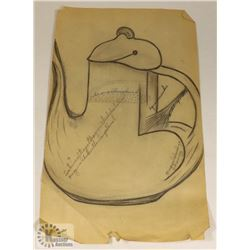 118) MARY BORGSTROM TEAPOT DESIGN HAND DRAWN.