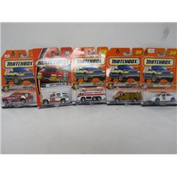 MATCHBOX 5 VEHICLE LOT (POLICE CHEVY IMPALA, CHEVY TAHOE FIRE, FIRE FLOODER, FIRE SAVER, CHEVY TAHOE