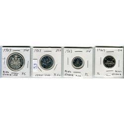 LOT OF 4 COINS ( 50 CENT PIECE 1963) *25 CENT PIECE 1963* ( 10 CENT PIECE 1963) *5 CENT PIECE 1963*