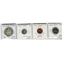 LOT OF 4 COINS (50 CENT PIECE 1963) *10 CENT PIECE 1963* ( 5 CENT PIECE 1965) *PENNY 1966*