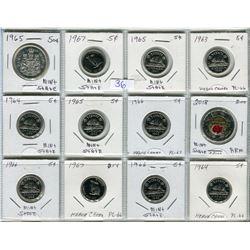 LOT OF 12 COINS (5 CENT PIECES 1 X 1963, 2 X 1964, 2 X 1965, 3 X 1966, 2 X 1967) *50 CENT PIECE 1965