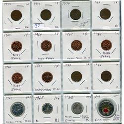 LOT OF 16 COINS ( PENNIES 1 X 1932, 2 X 1933, 1 X 1934, 2 X 1936, 1 X 1962, 1 X 1964, 1 X 1965, 2 X