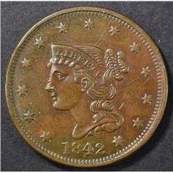 1842 LARGE CENT AU SCRATCHES