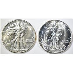 1941-D, 42-D WALKING LIBERTY HALF DOLLARS CH BU