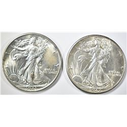 1942, 43 WALKING LIBERTY HALF DOLLARS CH BU