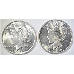 2 1923 PEACE DOLLARS CH/GEM BU