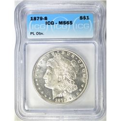 1879-S MORGAN DOLLAR  ICG MS-65 PL OBV