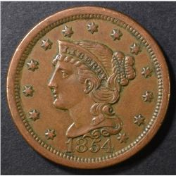 1854 BRAIDED HAIR LARGE CENT AU