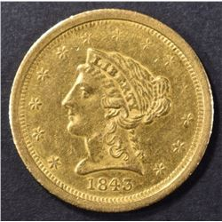 1843-O $2.5 GOLD LIBERTY BU OLD CLEANING