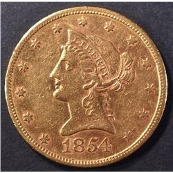 1854-S $10 GOLD LIBERTY AU/BU
