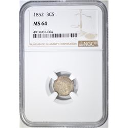 1852 3 CENT SILVER  NGC MS-64