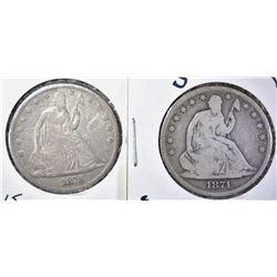 1871-S & 1873 SEATED HALF DOLLAR, VG