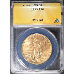 1923 $20 GOLD SAINT GAUDENS ANACS MS-63