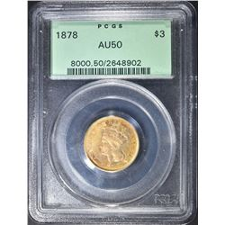 1878 $3 GOLD INDIAN PRINCESS PCGS AU-50
