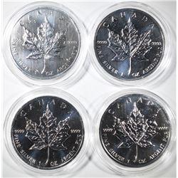 (4) 2012 $5 SILVER CANADA MAPLE LEAFS