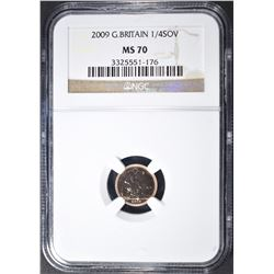 2009 GREAT BRITAIN 1/4 GOLD SOV. NGC MS-70