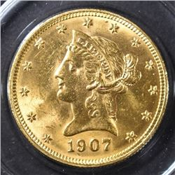 1907 $10 GOLD LIBERTY CH BU