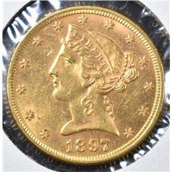 1897 $5 GOLD LIBERTY BU