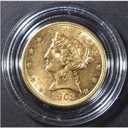 1903-S $5 GOLD LIBERTY CH BU
