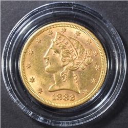 1882 $5 GOLD LIBERTY CH BU