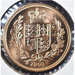 2002 GREAT BRITAIN GOLD SOVEREIGN .2354AGW