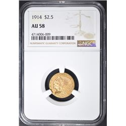 1914 $2.5 GOLD INDIAN HEAD  NGC AU 58