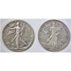 1933-S, 35-S WALKING LIBERTY HALF DOLLARS XF