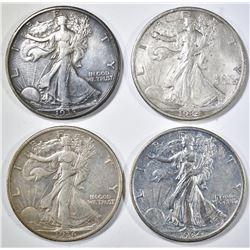 1934-P,S, 35-D, 36 WALKING LIBERTY HALF DOLLARS XF