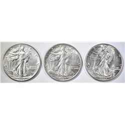 2 1942, & 43 WALKING LIBERTY HALF DOLLARS AU/BU