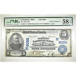 1902 PB $5 NC OHIO NB OF COLUMBUS PMG 58 EPQ