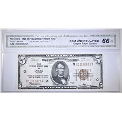 1929 $5 FRB  OF CHICAGO CGA GEM UNC OPQ