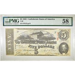 1863 $5 CSA PMG 58  VERY FRESH PAPER