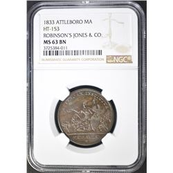 1833 ATTLEBORO MA ROBINSON'S JONES & CO HT-153
