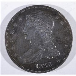 1838 REEDED EDGE AU+ HALF DOLLAR