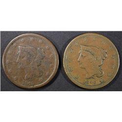 2-1840 LARGE CENTS, 1VG & 1-FINE