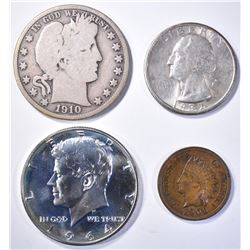 (4) MIXED LOT: 1906 INDIAN CENT CH,