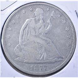 1877-S SEATED HALF DOLLAR, VF
