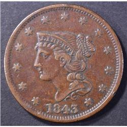 1843 LARGE CENT, XF/AU