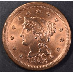 1852 LARGE CENT CH BU RED, CLEANED