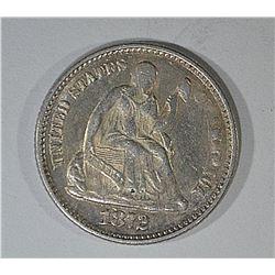 1872 SEATED LIBERTY HALF DIME AU