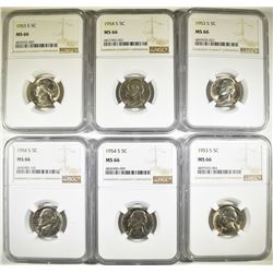 (6) NGC MS 66  JEFFERSON NICKELS: