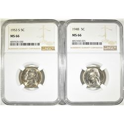 (2)  NGC MS 66 JEFFERSON NICKELS: