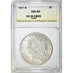 1921-S MORGAN DOLLAR  OBCS CH/GEM BU